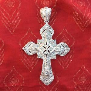 Real diamond pavé and 925 sterling cross pendant